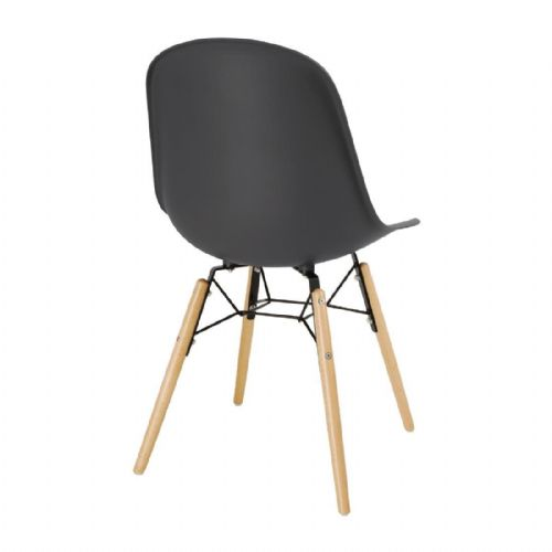 Bolero PP Moulded Side Chair Charcoal with Spindle Legs Pack of 2 - DM841